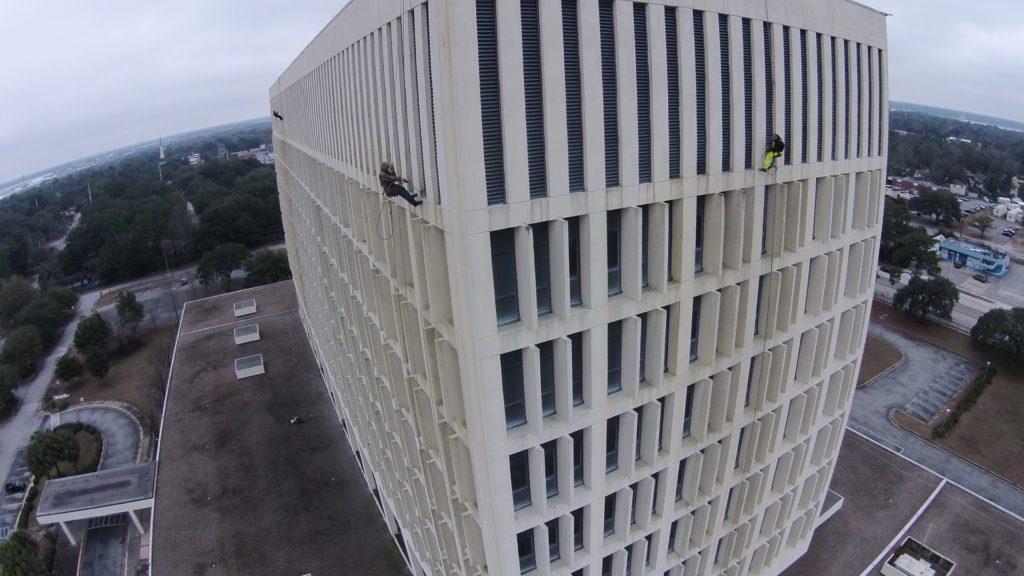 Pressure washing high rise in Charlotte NC