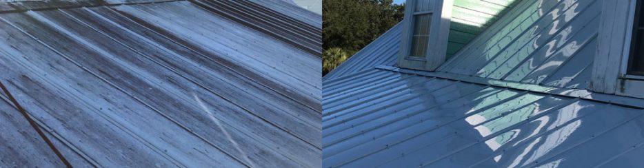Metal home roof washing